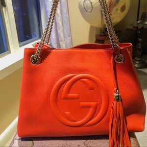 Gucci Soho Hobo Chain Purse Bag Orange